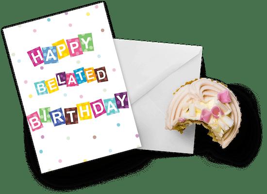 Tarjetas de cumpleaños atrasados