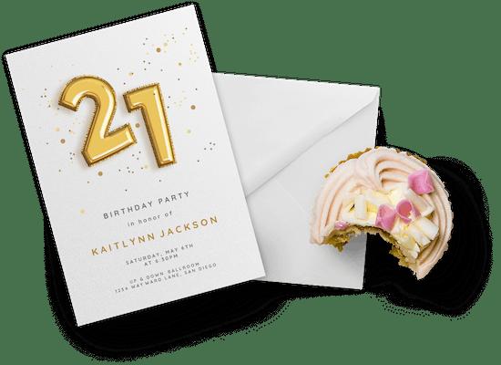Invitaciones para el cumpleaños número 21
