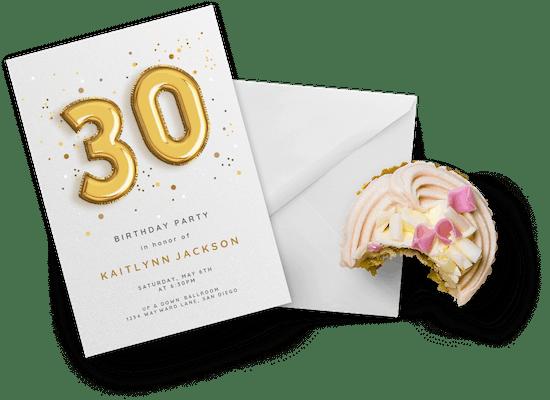 Invitaciones para el cumpleaños número 30